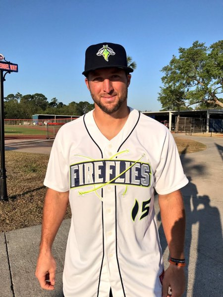 online retailer fa9f0 729f9 Fancred Sports : Tim Tebow's new Minor League jersey glows ...
